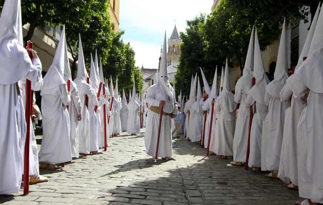 A Catholic procession of Nazarenes in the region of Andalusia, Spain.,nazarenos, capirotes