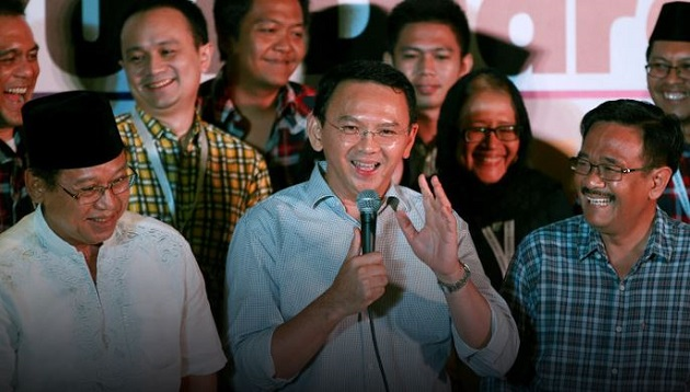 Purnama Ahok addresses the media after conceding defeat in the Jakarta election, April 19. / Reuters,