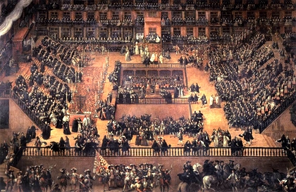 The Auto de fe in the Plaza Mayor in 1680, led by Charles II. / Francisco Rizi, Prado Museum.
