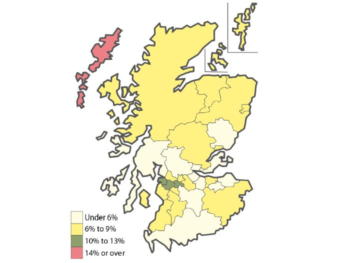 Scottish Churchgoers as Percentage of the Population in 2016. / Brierley Consultancy,