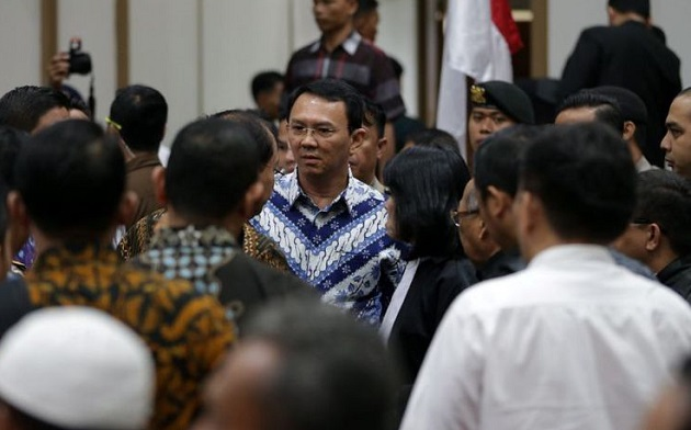 The outgoing Governor of Jakarta, Ahok, after hearing the sentence, on 9 May. / Kompass Indonesia,