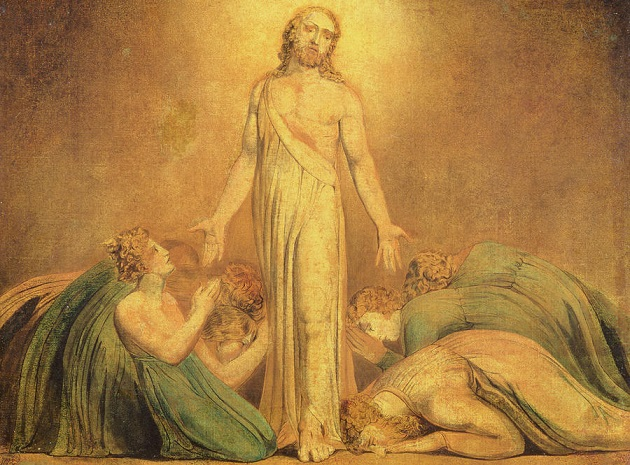 Christ appearing to the Apostles after the resurrection, by William Blake. ,christ, painting, resurrection
