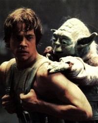Luke Skywalker and Yoda, in Star Wars.