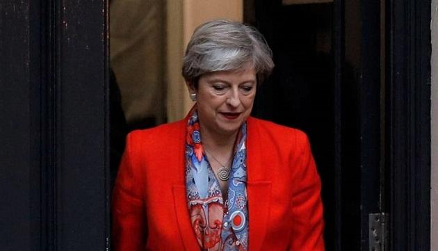 Theresa May, on election night. / BBC,
