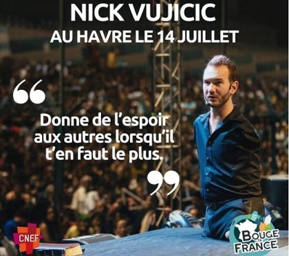 Nick Vujicic will be the invited speaker at the Ocean stadium. / BTF