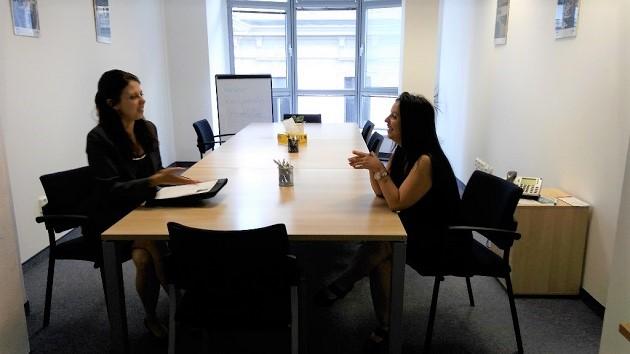 Šárka Konícková (left) with a colleague at her workplace. / A. Funka,