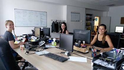 Šárka (centre) at the offices where she works.