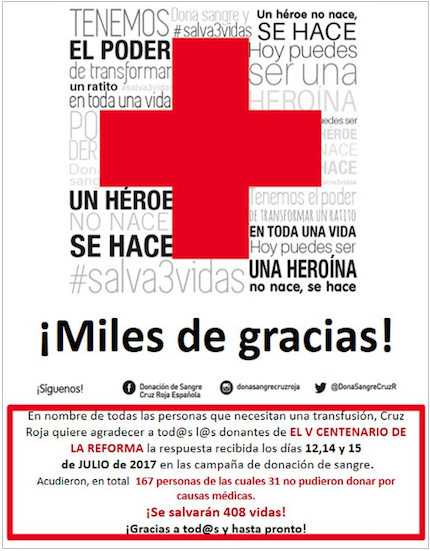 The Spanish Red Croos thanks the participants in the 5000 anniversary of the Reformation activities.