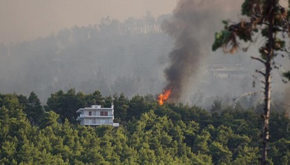 A picture of the fire taken from the Kalamos camp as the the flames approached the site. / Kalamos