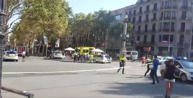 Image of the centre of Barcelona after the attack.,