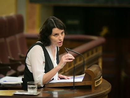 Podemos spokesperson María Mar García defends the LGBT law in the Spanish parliament. / Congreso Diputados