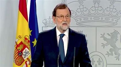 Mariano Rajoy during the televised declaration. / TVE