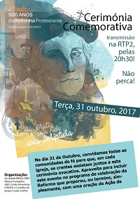 Poster adverstising broadcasting of special Reformation service on the Portuguese public television. / AEP