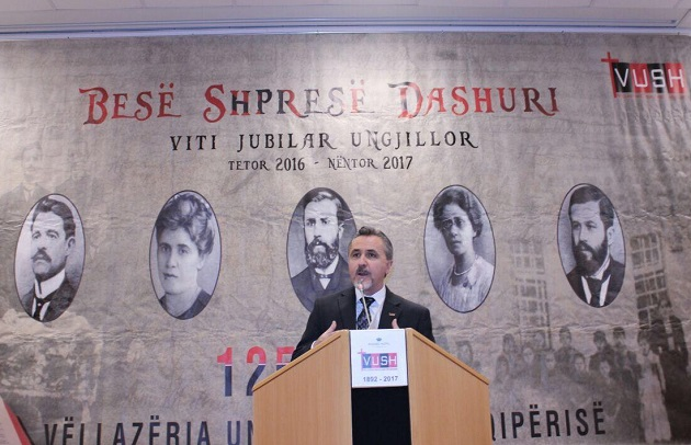 The Chairman of VUSH, Ylli Doçi, speaks on the history of evangelicals in Albania, on 14th November 2017. / Photo: VUSH,