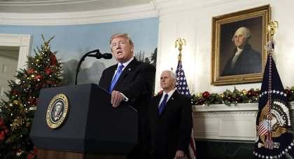 Donald Trump during his declaration. / AP