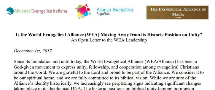 Excerpt of the open letter by the Italian Evangelical Alliance, Spanish Evangelical Alliance and Evangelical Alliance Malta.