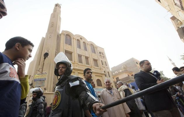 The attack happened at the Marmina church in the Helwan City district . / AP,