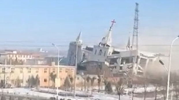 An image of the demolition of the church. / RFA,