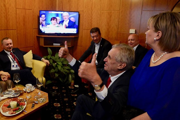 Milos Zeman celebrates his victory on January 27. / Facebook M. Zeman,