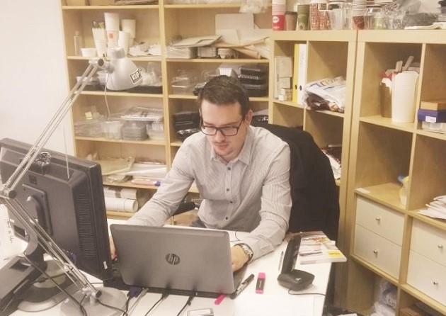 Richard Novák at his workplace in Prague (Czech Republic). ,