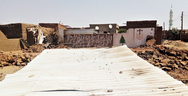 The downed Evangelical Church in Al Haj Yousif, North Khartoum, Sudan. / Morning Star News,