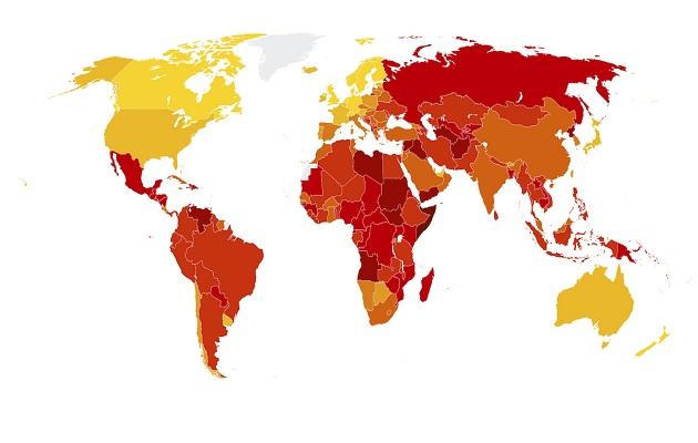 CPI map. / Transparency International,