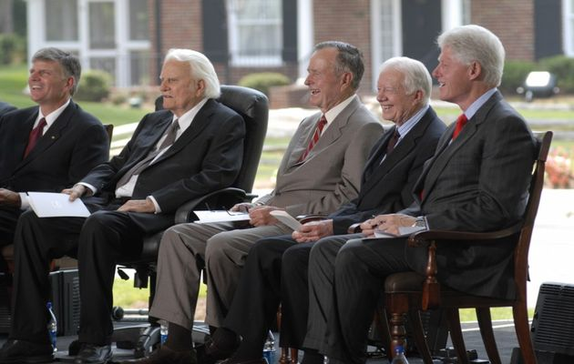 Billy Graham, Presidents George H.W. Bush, Jimmy Carter and Bill Clinton at the dedication of the Billy Graham Library in Charlotte, North Carolina, in 2007. / BGEA,