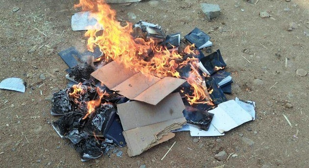 Bibles burned by Hindu extremists in Telangana state, India. / Morning Star News,