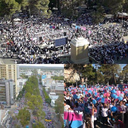 Río Negro and Neuquén marches. / Fb Grupo Marcha por la vida Argentina