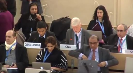 World Evangelical Alliance Advocacy Officer Albert Hengelaar (centre) speaking at the United Nations Human Rights Conucil in Geneva, March 2018. / WEA Youtube channel,