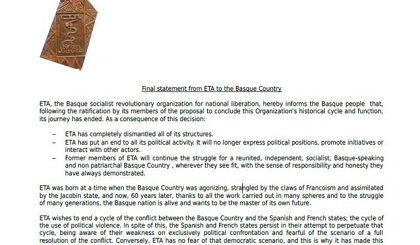 Excerpt of the letter in English distributed by ETA on May 4, 2018. It announces its disbandment. / BBC, ETA