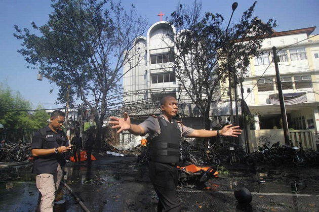One of the churches attacked on May 13, in Surabaya. / Antara, Jakarta Globe,