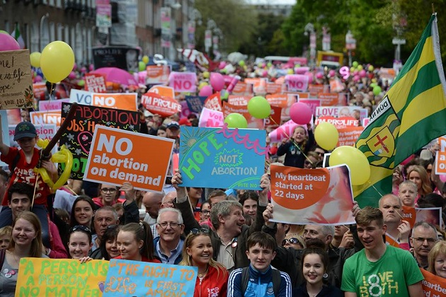 Pro-life supporters demonstrate ahead of the Irish referendum in May 2018. / Facebook Love Both Project,