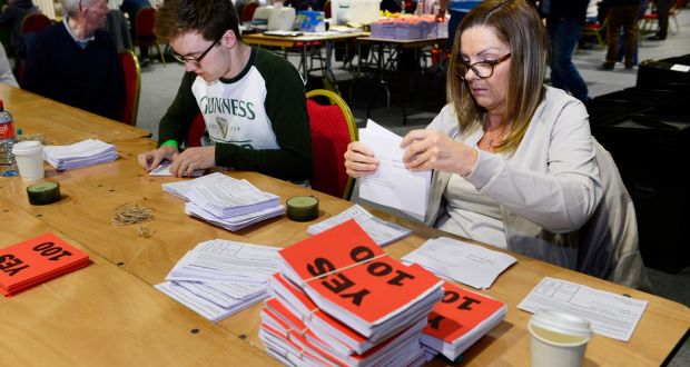 Votes coutig after the polls closed in Ireland. / Irish Times.,