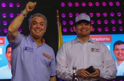 Candidate Ivan Duque and the leader of the Christian party Colombia Justa Libres, Jhon Milton. / Colombia Justa Libres Facebook