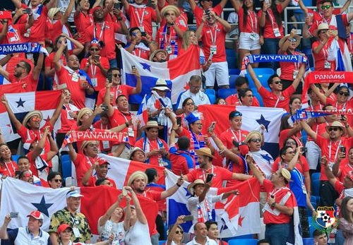Supporters of Panama at the World Cup game against England. / FEPAFUT, Panama Football Federation Twitter