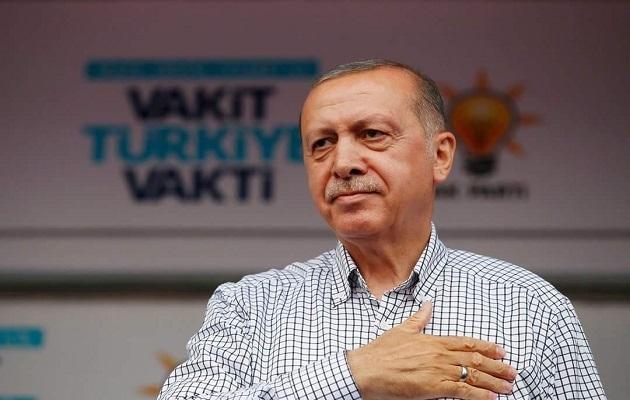 Erdogan speaks at a 2018 elections campaign event. / Facebook President Recep Tayyip Erdogan ,