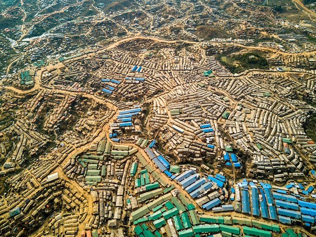 Bangladesh. Aerial View of Kutupalong Refugee Camp. / Photo: Copyright UNHCR, Roger Arnold.