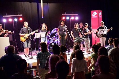 The band 'Celobert' and Aleithia Sweeting led worship at Transform. / Ellie Bookmyer