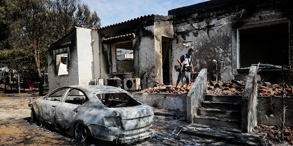 One of the houses burnt in the Mati wildfires. / Eleftheros Typos