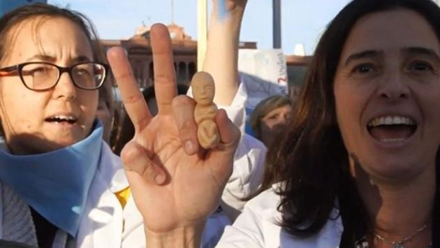 Argentinian doctors in one of the protests.,