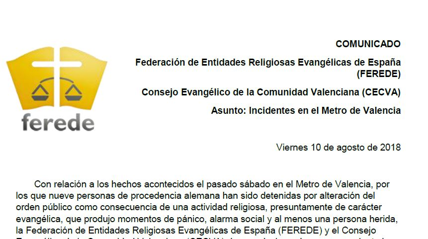 Statement of Ferede and CECV on the incident. / PD