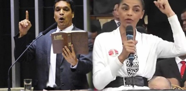 The two evangelical candidates in Brazil, Cabo Daciolo and Marina Silva. / Evangélico Digital,
