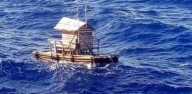 A 19-year-old Indonesian survived 49 days adrift at sea in the wooden fish trap he was employed to mind /  IndonesianConsulate,