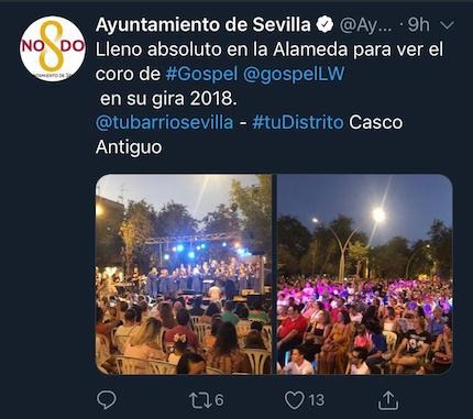 The Twitter account of the City Council described the success of the event. / Twitter Ayto. Sevilla