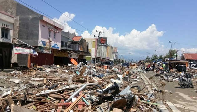 The devastation in Sulawesi after the quake and tsunami. / Indonesia Red Cross,