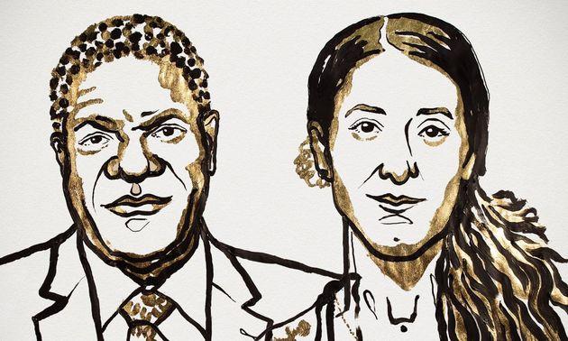Drawing of Denis Mukwege and Nadia Murad./ Nobelprize.org,