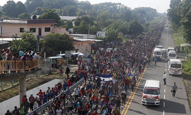On Sunday, the migrant caravan reached the town of Tapachula, in Mexico's southern border with Guatemala. / El Caribe.,