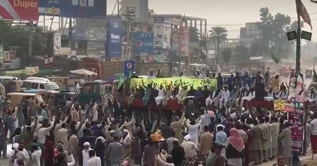 One of the protests in Pakistani cities after the acquittal of Asia Bibi. / Facebook video caption,