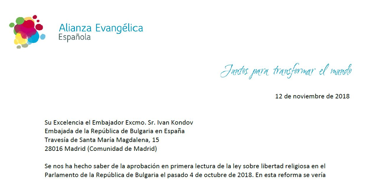 Letter of the Spanish Evangelical Alliance to the ambassador of Bulgaria in Spain. / AEE